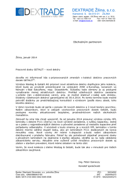 auslaufdekore - Dextrade Žilina, sro