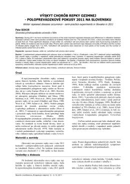 výskyt chorôb repky ozimnej - poloprevádzkové