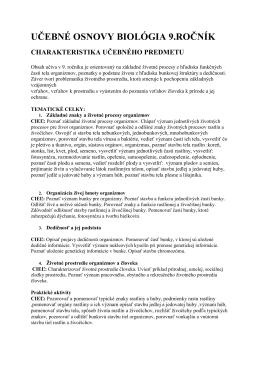 UČEBNÉ OSNOVY BIOLÓGIA 9.ROČNÍK