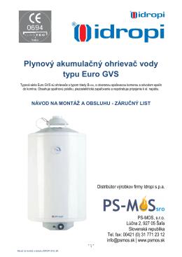 Plynové ohrievače vody Idropi GVS 50 - 120 l - PS