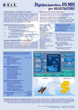 brožúra: Digitálna kancelária pre REGISTRATÚRU