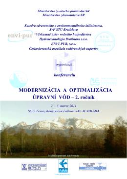 MODERNIZÁCIA A OPTIMALIZÁCIA ÚPRAVNÍ VÔD – 2. ročník