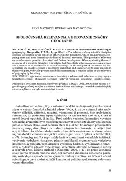 Geografie 1/2012 - Česká geografická společnost