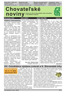 Chovateľské noviny 2 / 2012