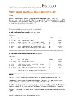 Možný způsob zaúčtování dovozu zboží (mimo EU)