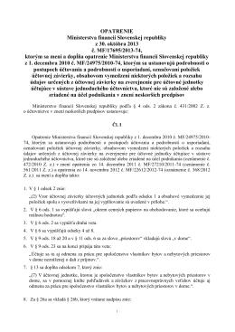 OPATRENIE Ministerstva financií Slovenskej republiky z 30. októbra