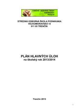 Plán hlavných úloh 2013/2014 - Stredná odborná škola podnikania