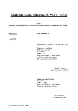 Hodnotiaca správa 2013/2014 - Základná škola • Mlynská 50, Senec