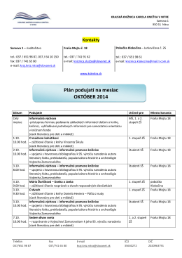 Plán podujatí na mesiac OKTÓBER 2014