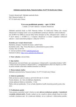 Výzva na predloženie ponuky – spis č.1/2014
