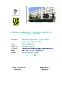 Kritériá na prijatie žiakov do 1 - Gymnázium sv. Vincenta de Paul
