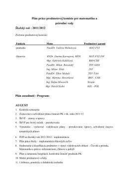 Plán práce predmetovej komisie pre matematiku a prírodné vedy