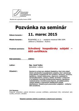 AEO certifikácia - Bratislavská regionálna komora SOPK