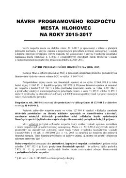 Návrh rozpočtu mesta Hlohovec na rok 2015