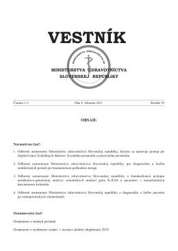 vestnik-1-3 2011.pdf - Ministerstvo zdravotníctva SR