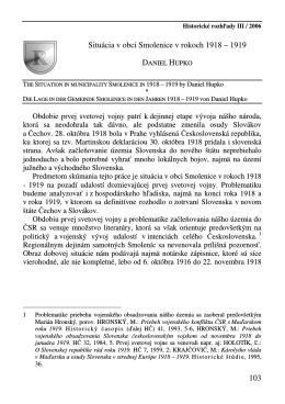 103 Situácia v obci Smolenice v rokoch 1918 – 1919