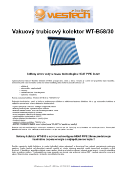 Vakuový trubicový kolektor WT-B58/30