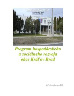 Program hospodárskeho a sociálneho rozvoja obce Kráľov