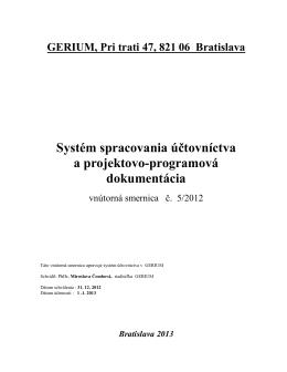 Systém spracovania účtovníctva a projektovo