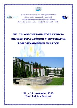xv. celoslovenská konferencia sestier pracujúcich v psychiatrii s