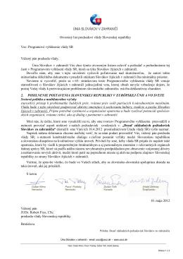 Otvorený list predsedovi vlády SR