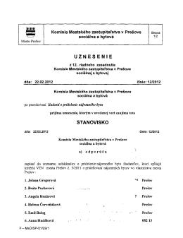 uznesenia z 12. zasadnutia Komisie