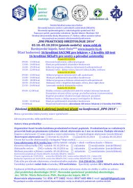 """""""DNI PRAKTICKEJ OBEZITOLÓGIE 2014"""" 03.10.-05.10"""