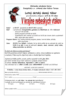 prihláška pdf - Občianske združenie KAIROS
