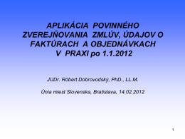 Aplikácia povinného zverejňovania zmlúv, údajov o