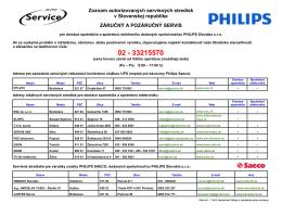 Zoznam autorizovaných servisných stredísk v