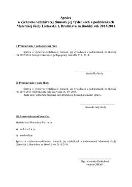 Správa o VVČ za školský rok 2013/2014