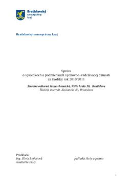 Správa o výchovno-vzdelávacej činnosti 2010/2011