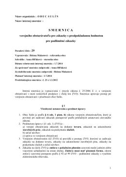 Smernica 29 - verejné obstarávanie 2014