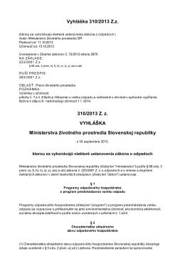 Vyhláška č. 310/2013 Z. z.