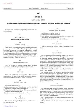 180/2014 Zákon o podmienkach výkonu volebného
