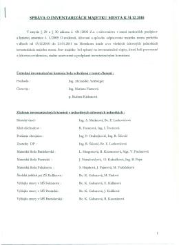 správa o inventarizácii majetku mesta k 31.12.2010