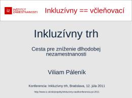 Páleník, V.: Inkluzívny trh