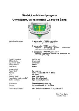 3. a 4. ROČNÍK - Gymnázium, Veľká okružná 22, ŽILINA