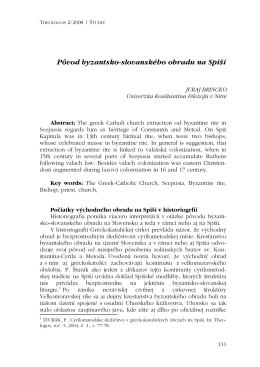 Pôvod byzantsko-slovanského obradu na Spii