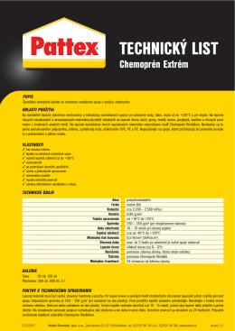Technický list Pattex Chemoprén Extrém