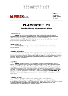 Stiahnúť Technický list PLAMOSTOP P9