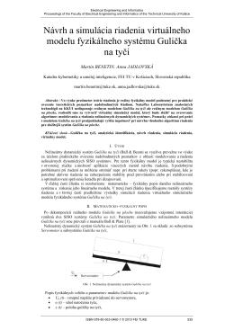 Návrh a simulácia riadenia virtuálneho modelu fyzikálneho systému