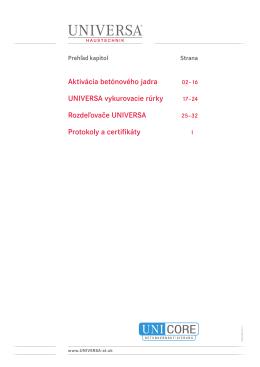 Aktivácia betónového jadra UNIVERSA vykurovacie