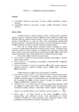 Úloha č. 1: Kalibrácia meracích prístrojov