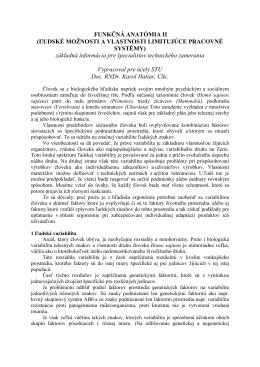 FUNKČNÁ ANATÓMIA II