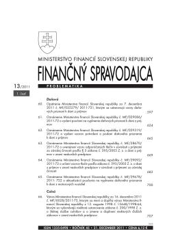 Finančný spravodajca 13/2011 (1. časť)