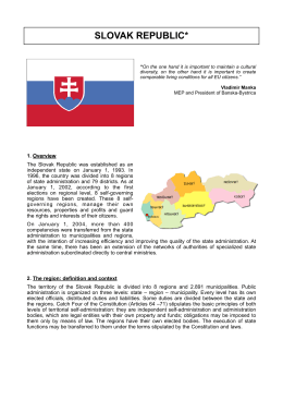 SLOVAK REPUBLIC 2010 - Assembly of European Regions