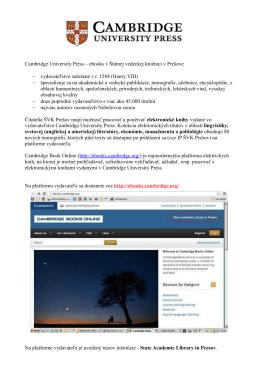 Cambridge University Press – ebooks v Štátnej vedeckej knižnici v