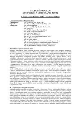 Študijný program (Kompozícia a dirigovanie zboru, Bc.)