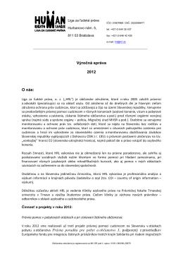 Výročná správa 2012 O nás: